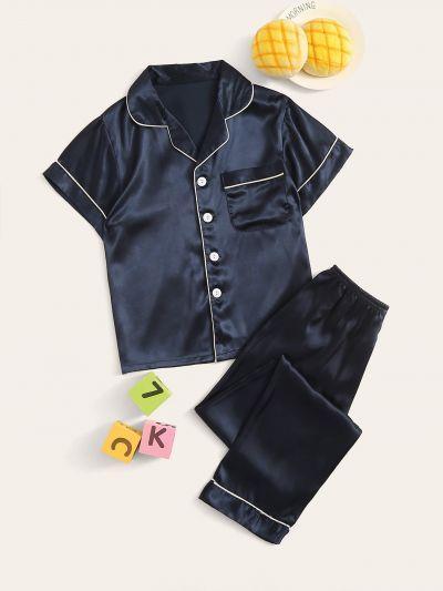 Boys Contrast Binding Satin Shirt & Pants PJ Set