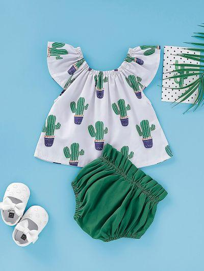 Baby Girl Cactus Print Blouse With Frill Trim Shorts