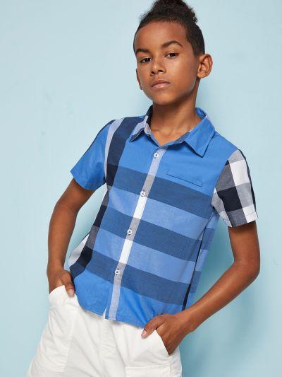 Boys Button Front Plaid Shirt