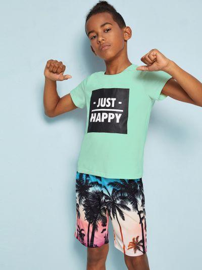 Boys Letter Print Top & Tropical Bermuda Shorts Set