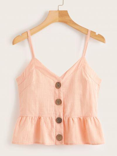 Button Front Ruffle Hem Cami Top