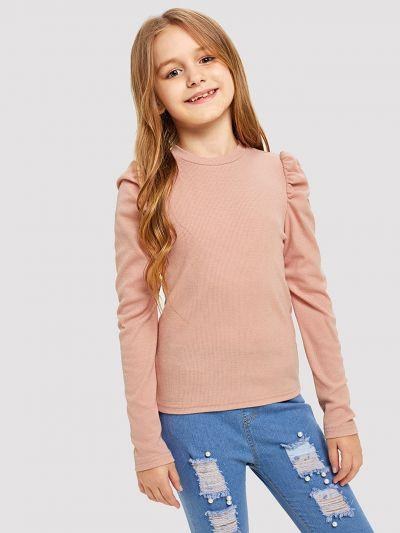 Girls Puff Sleeve Solid Tee