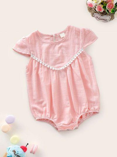Baby Contrast Lace Keyhole Back Romper