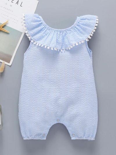 Baby Girl Striped Ruffle Trim Pom Pom Romper