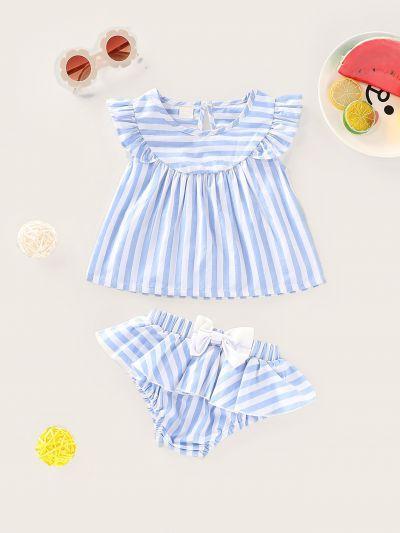 Baby Ruffle Trim Stripe Top & Shorts