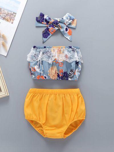 Baby Floral Print Lace Panel Bandeau & Shorts & Headband