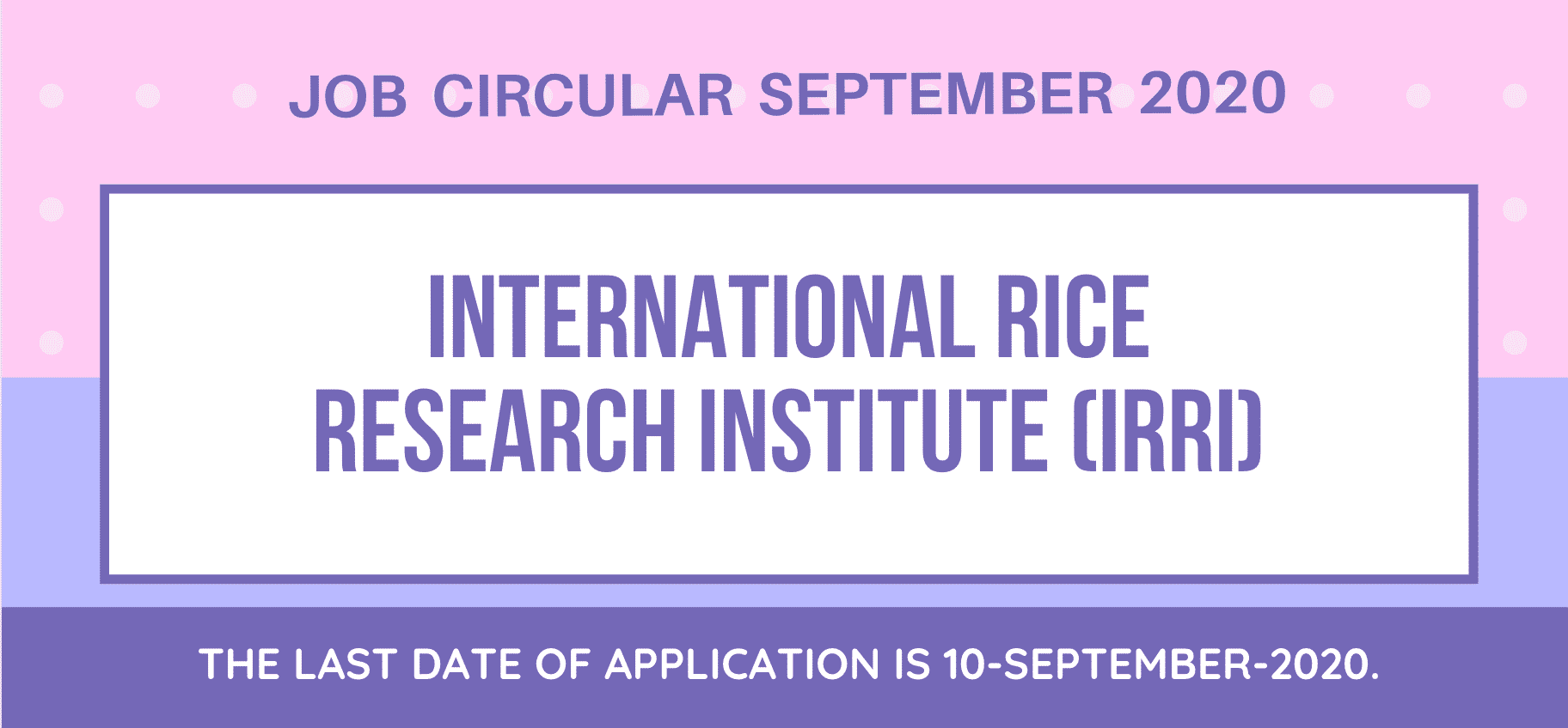 International Rice Research Institute (IRRI) Job Circular September 2020