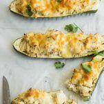 Zucchini boats with creamy spicy chicken