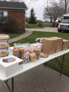 Baked goods on a table at the roadside stand
