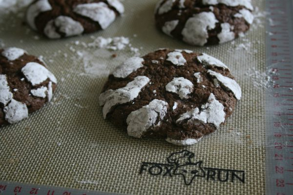 Chocolate Crinkles on Fox Run Baking Mat