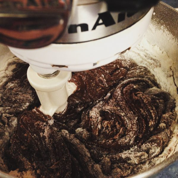Mixing Chocolate Crinkle Cookie in Kitchen Aid