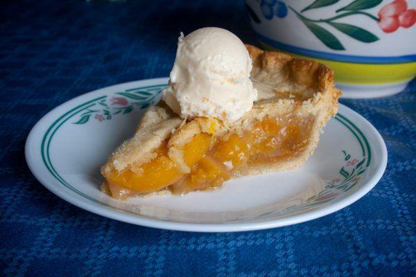 Peach Pie with ice cream on top