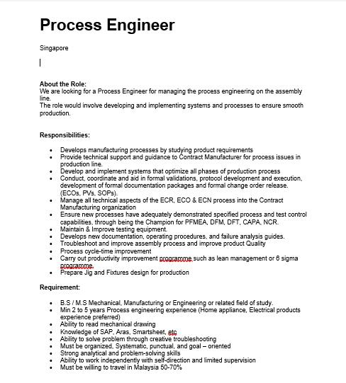 Process engineer