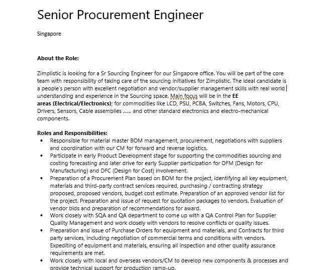Senior Procurement Engineer