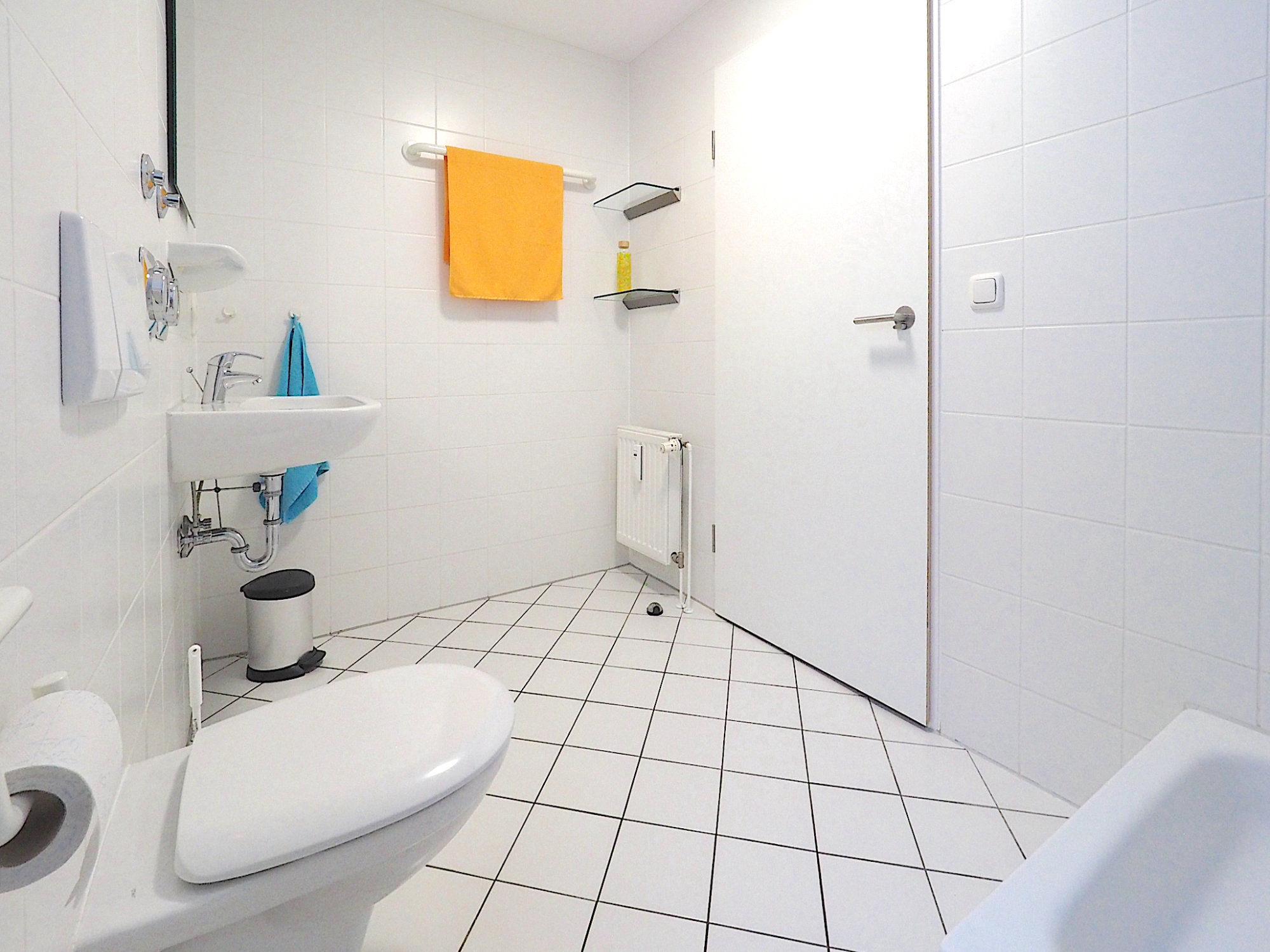 Duschbad mit WC, Waschbecken und Regalen