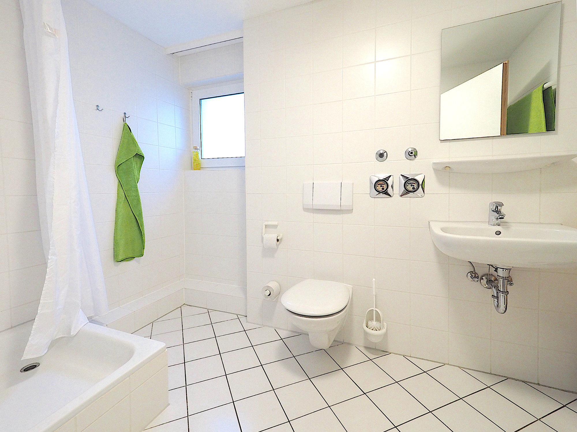 Duschbad mit Dusche, Fenster  WC und Waschbecken. Von links  nach rechts.