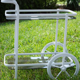 Small white metal cart with glass shelves