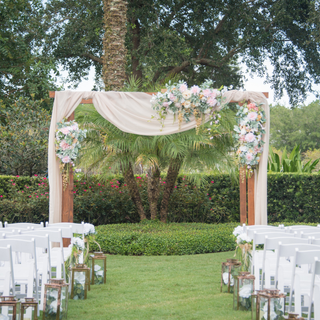 Stained pergola for florals and drapes