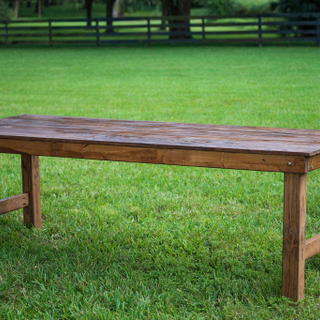 stained, polyed farm tables