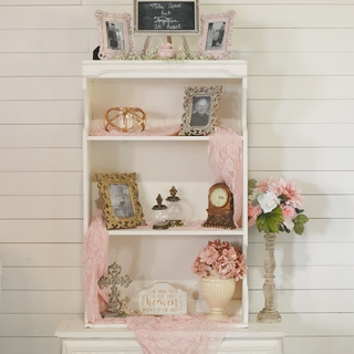 All white vinatge hutch with gold hardware