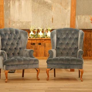 Blue tuffed velvet high back chairs