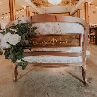 ivory and roses material with rose gold accent trim