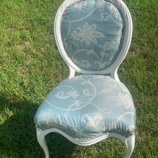 Blue Victorian white wood trimmed chairs