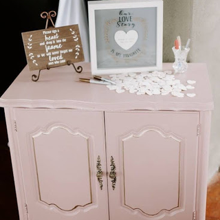Blush endtable with silver hardware