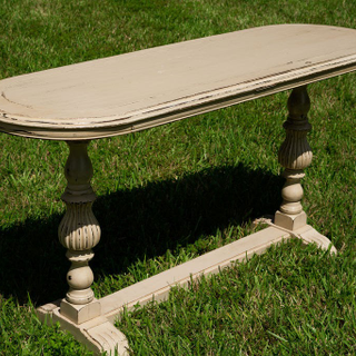 Neutral white wash oval table