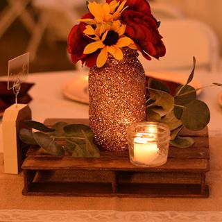 Rose gold glitter mason jars