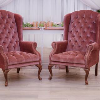 Blush velvet tuffed high back chairs