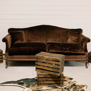 Brown velvet vintage couch with wood legs