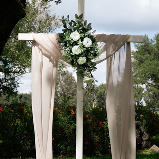 White solid wood cross for florals and drapes