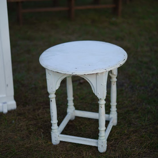 Small white wood round table