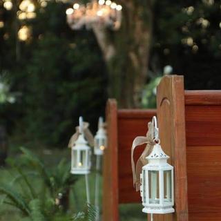 Mini white metal lanterns