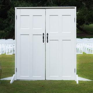 White doors on frame black door handles on one side