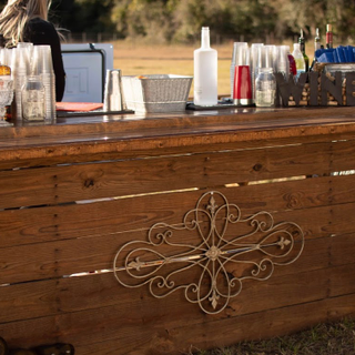 All wood rustic bar with poly top