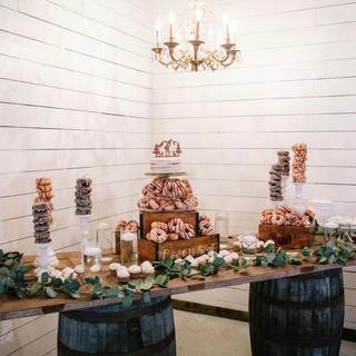 Barrels used for barn door top table