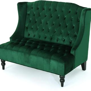 Emerald green tuffed velvet with black wood legs