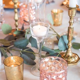 Small medium large glass stemmed tea lights