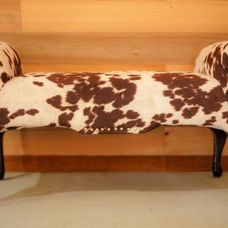 Cowhide material vanity bench