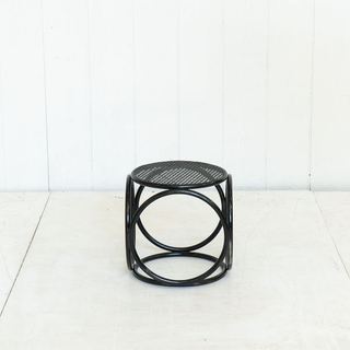 Black Rattan Painted Boho Side Table Plant Stand