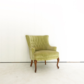 Lime Green Velvet Tufted Chair with Wood Legs