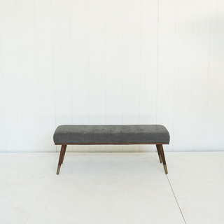 Steel Grey Mid Century Stlye Bench With Wood and Brass Tapered Legs