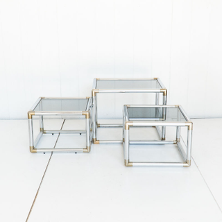 Chrome and Brass Nesting Coffee Tables Mid Century Modern