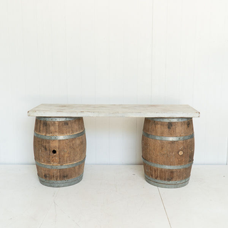 Wine Barrel Whitewashed Table Top