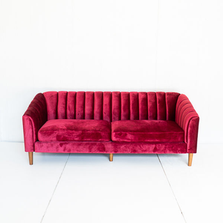 Cranberry Red Channelback Sofa