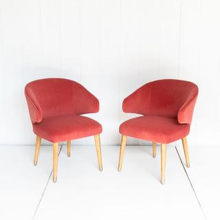 Coral Velvet Chair with Light Oak Legs