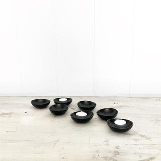 Black CB2 ceramic votive candle holder