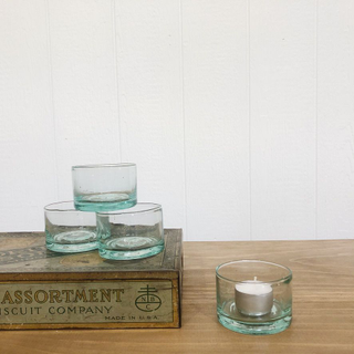 Recycled Blue Glass Candle Holders